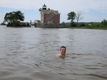 Scientist Greg O'Mullan, Swimming in the Hudson River at Saugerties