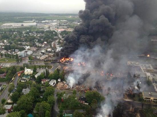 Bakken Crude oil train derailment in Lac Magantic Quebec, 2013. Photo by Sûreté du Québec via Wikimedia Commons