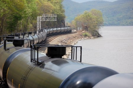 Crude oil trains hug the shoreline for many miles, including near drinking water intakes for the City of Poughkeepsie and the Town of Lloyd. Photo courtesy Matt Kierstead.