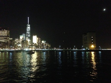 The view of Manhattan and the Hudson River after dark from Pier 26. (Photo by Dan Shapley/ Riverkeeper)