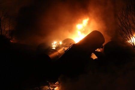 Marcus Constantino-Daily Mail Derailed train cars burn near Mount Carbon-WVa