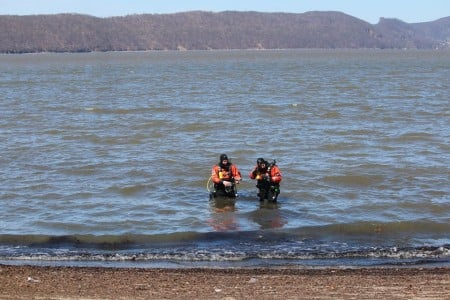 Divers from the Village of Croton-on-Hudson Police Department at the Ossining beach, during a training exercise and investigation of potential underwater hazards on April 25, 2015. Photo courtesy Henry Atterbury.