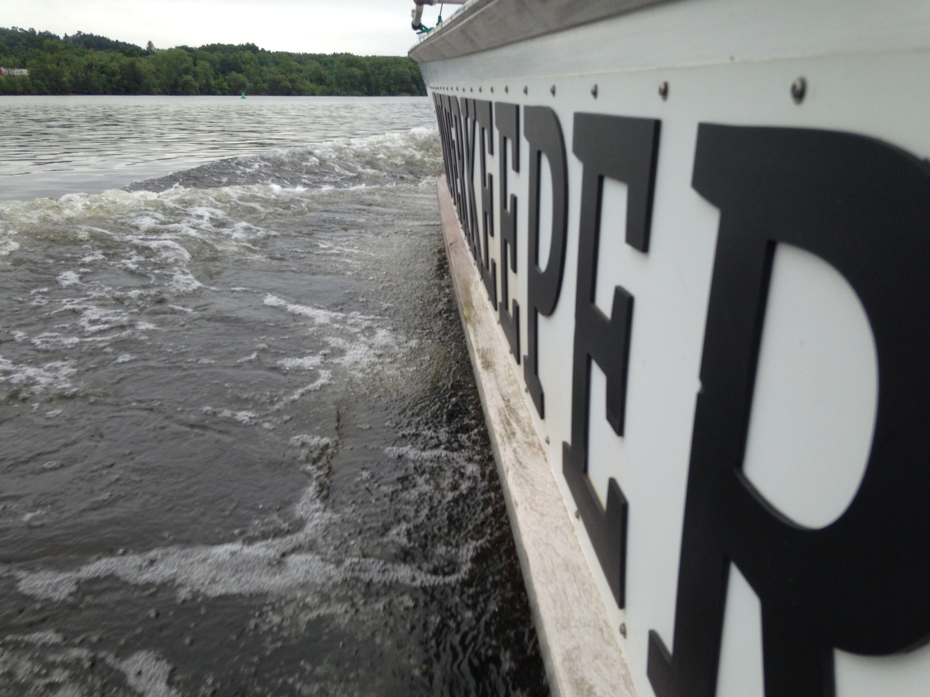 Riverkeeper on patrol in the Mohawk River in July 2015.
