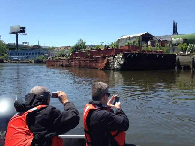 A derelict barge on Westchester Creek. (Photo by Dan Shapley / Riverkeeper)