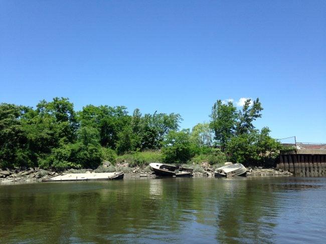 Westchester Creek wrecks. (Photo by Dan Shapley / Riverkeeper)