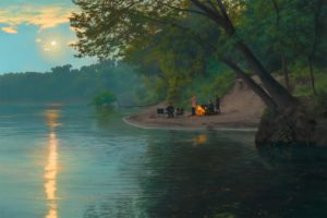 Moonrise on the River-2012-24 x 36-Oil on panel by Scott Prior