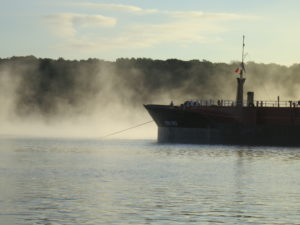 A tug and barge-anchored-Hudson River at Hyde Park-JLipscomb-091616-2
